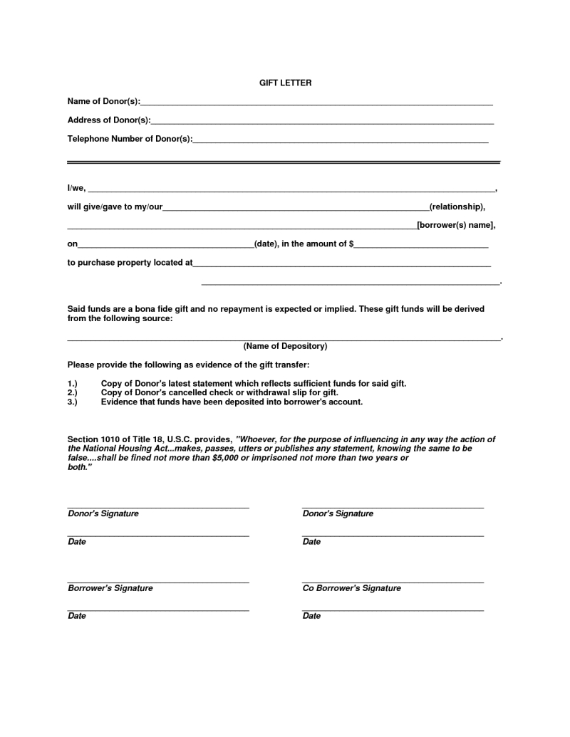 Fha Gift Letter Template - T Letter Template