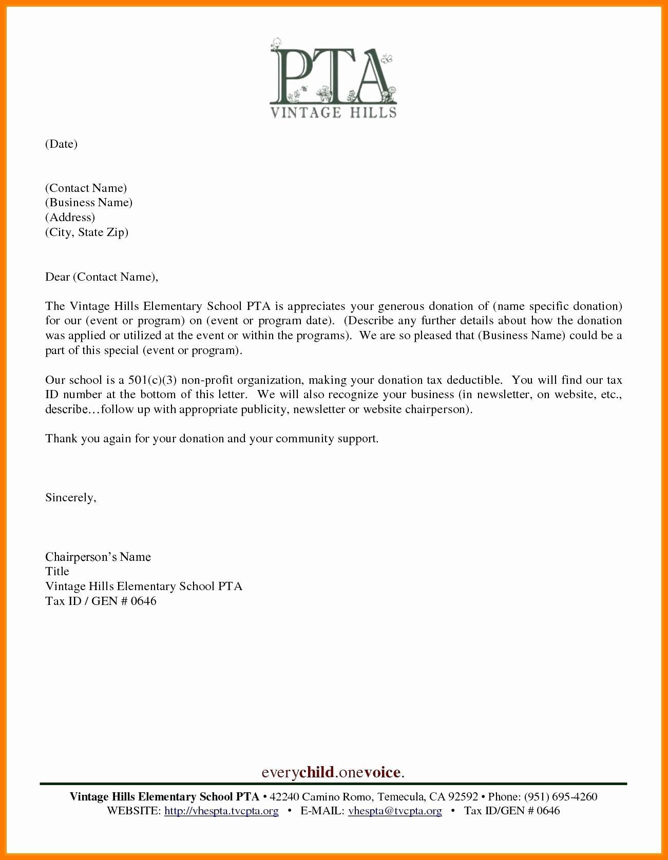 Non Profit Tax Deduction Letter Template - Tax Donation Letter Template Fresh 20 Best Letter Template