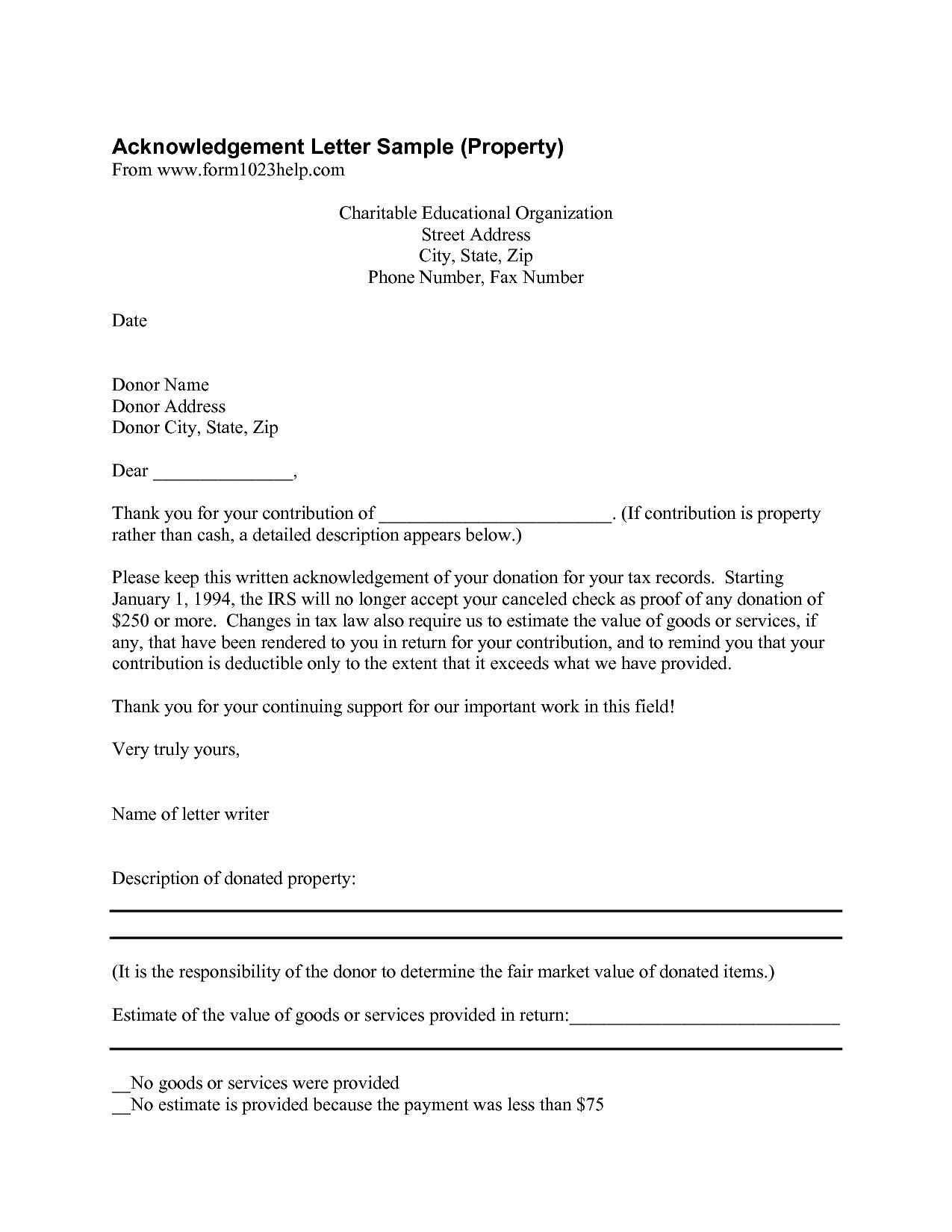Donor Acknowledgement Letter Template