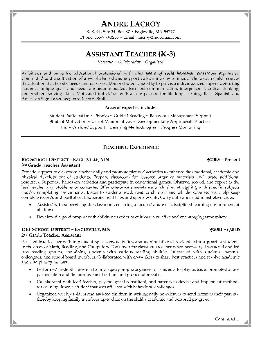cover letter template for teachers aide Collection-Teacher Assistant Resume Sample 10-i