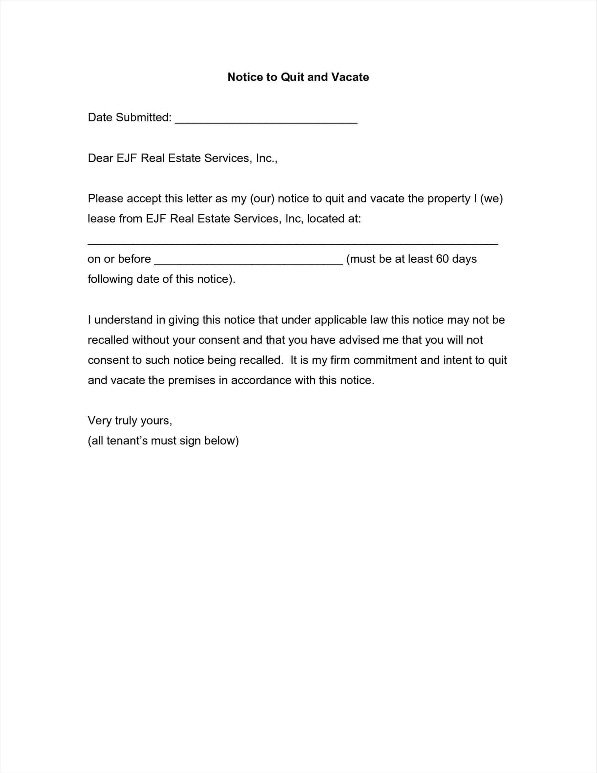 Notice Of Intent to Vacate Letter Template - Template for 60 Day Notice to Vacate