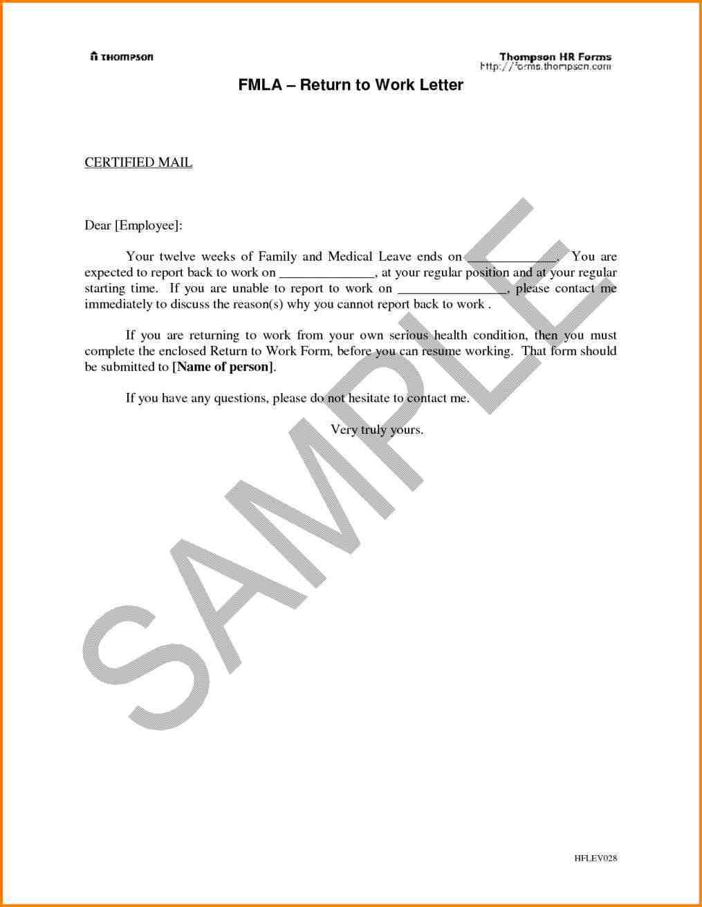 Maternity Return to Work Letter From Employer Template - Template Letter Maternity Leave Employer Best Of 9 Sample Template