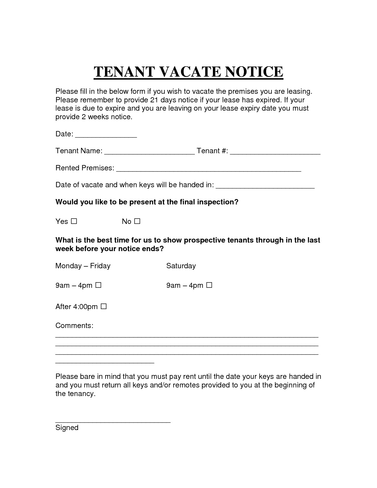Notice to Vacate Letter to Tenant Template - Template Letter to Leave Property New Printable Sample Vacate Notice