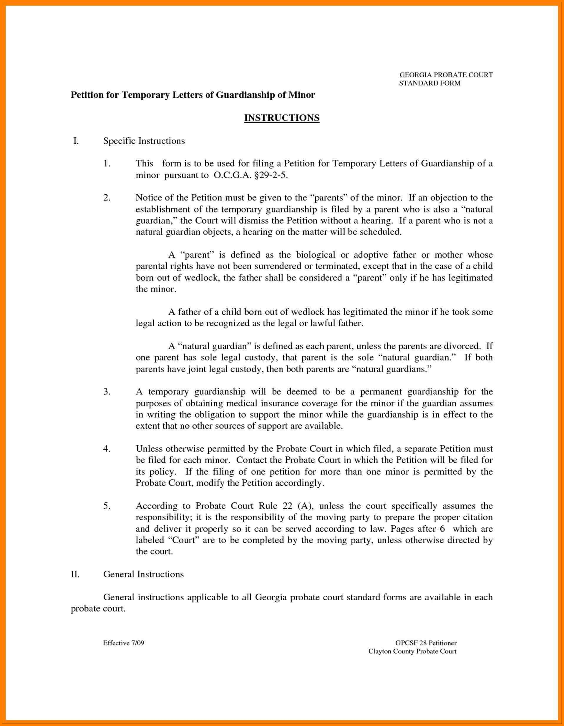 Temporary Custody Letter Template Examples