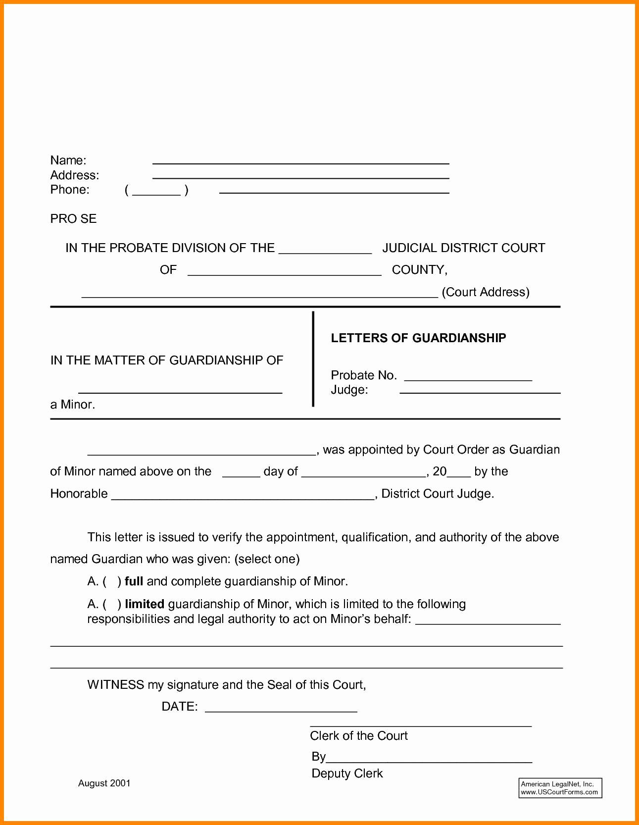 Legal Guardianship Letter Template Samples