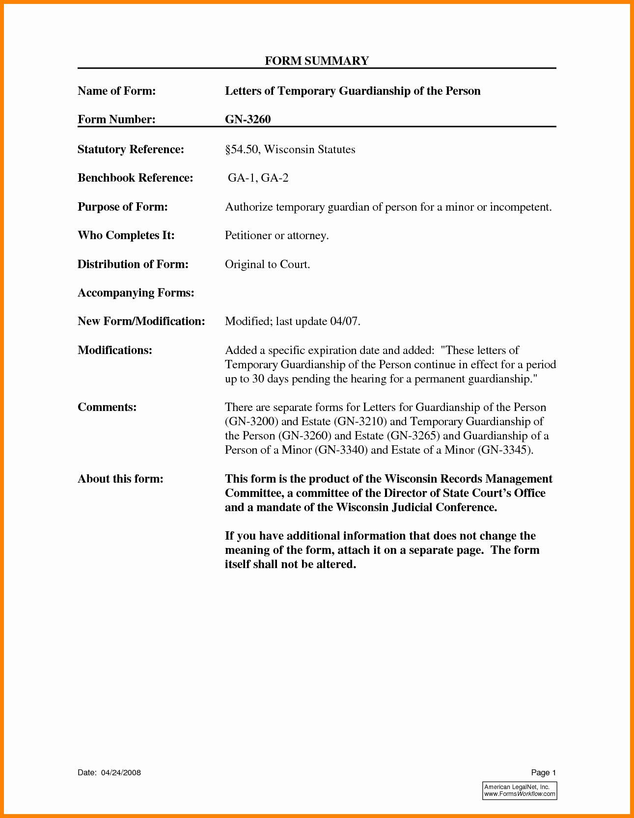 Temporary Guardianship Letter Template - Temporary Guardianship form for Grandparents Best Temporary