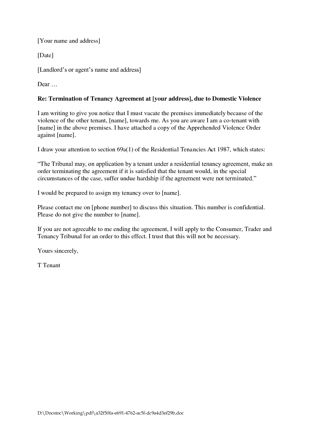 Lease Termination Letter to Tenant Template Samples | Letter ...