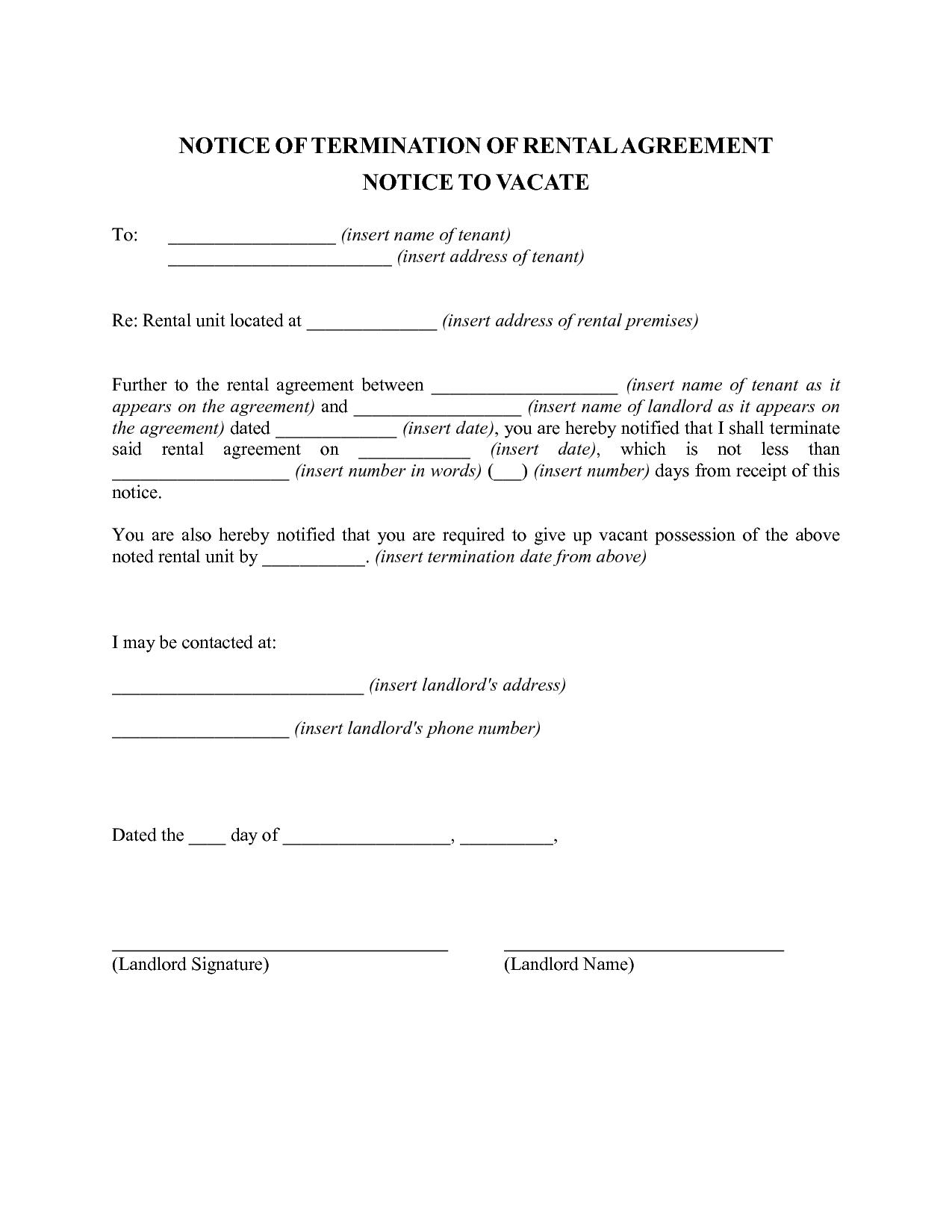 Landlord Notice Letter to Tenant Template - Tenancy Resignation Letter Letter format formal Sample