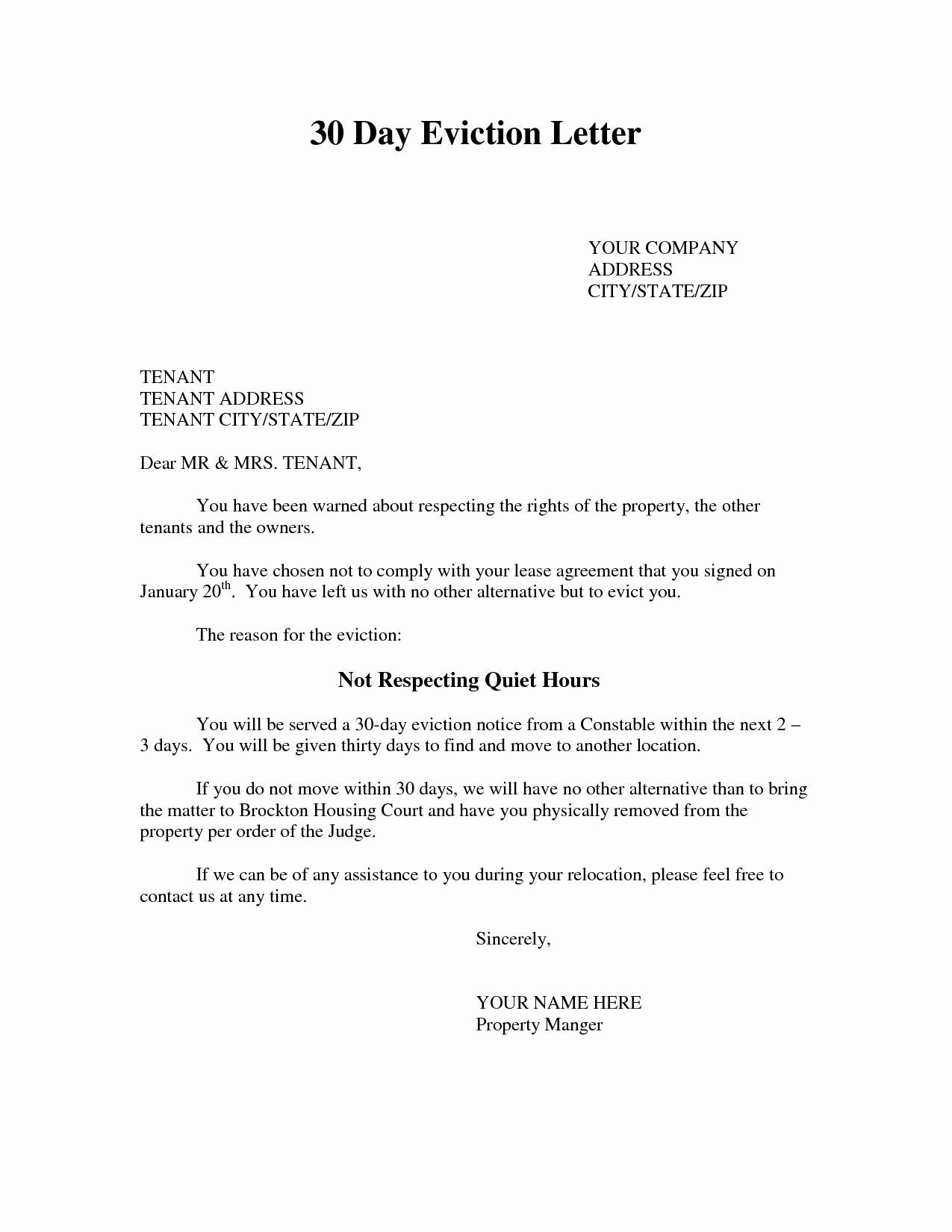 Tenant Eviction Letter Template - Tenant Eviction Letter Template Fresh Eviction Notice Template