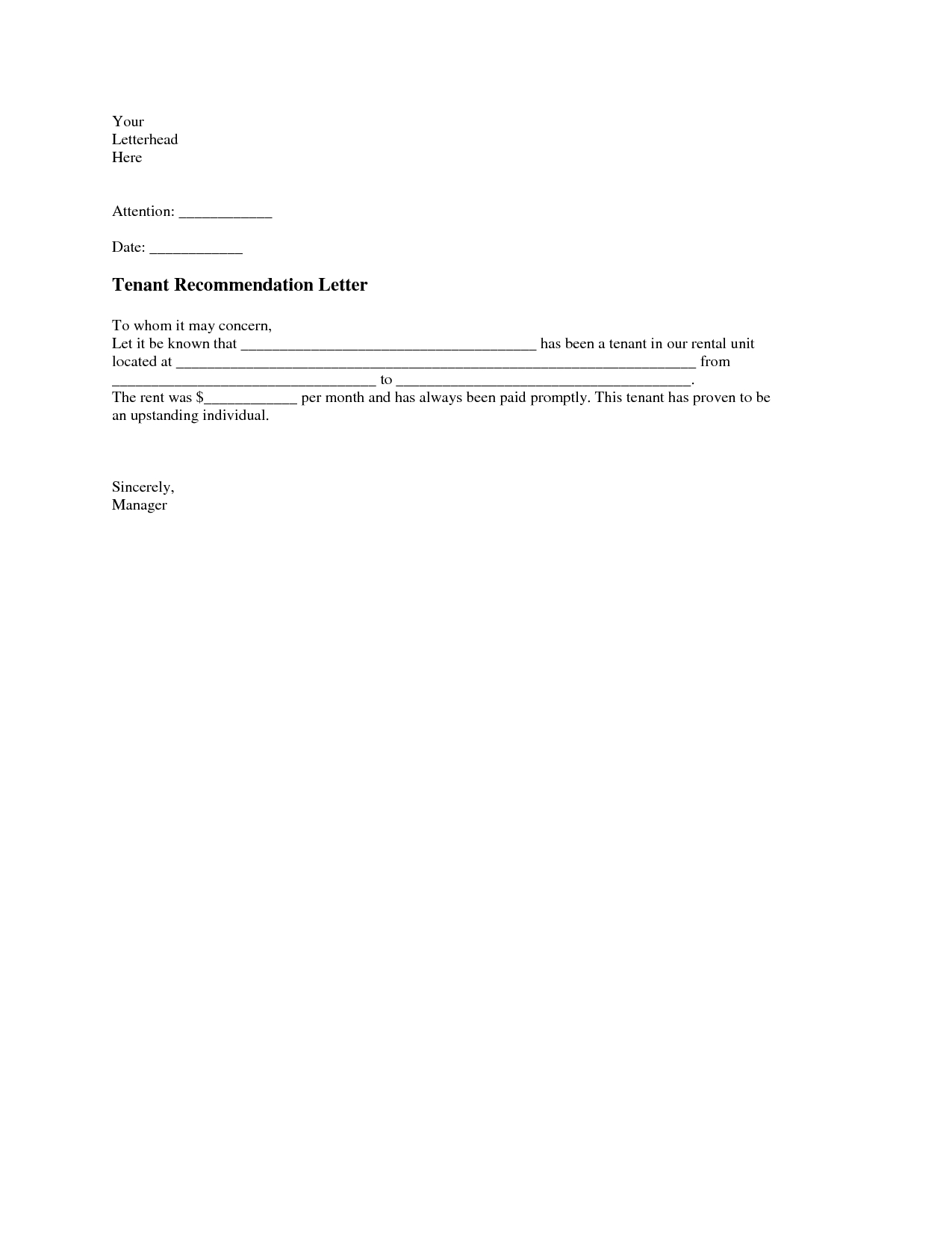 Free Rental Reference Letter Template - Tenant Re Mendation Letter A Tenant Re Mendation Letter is
