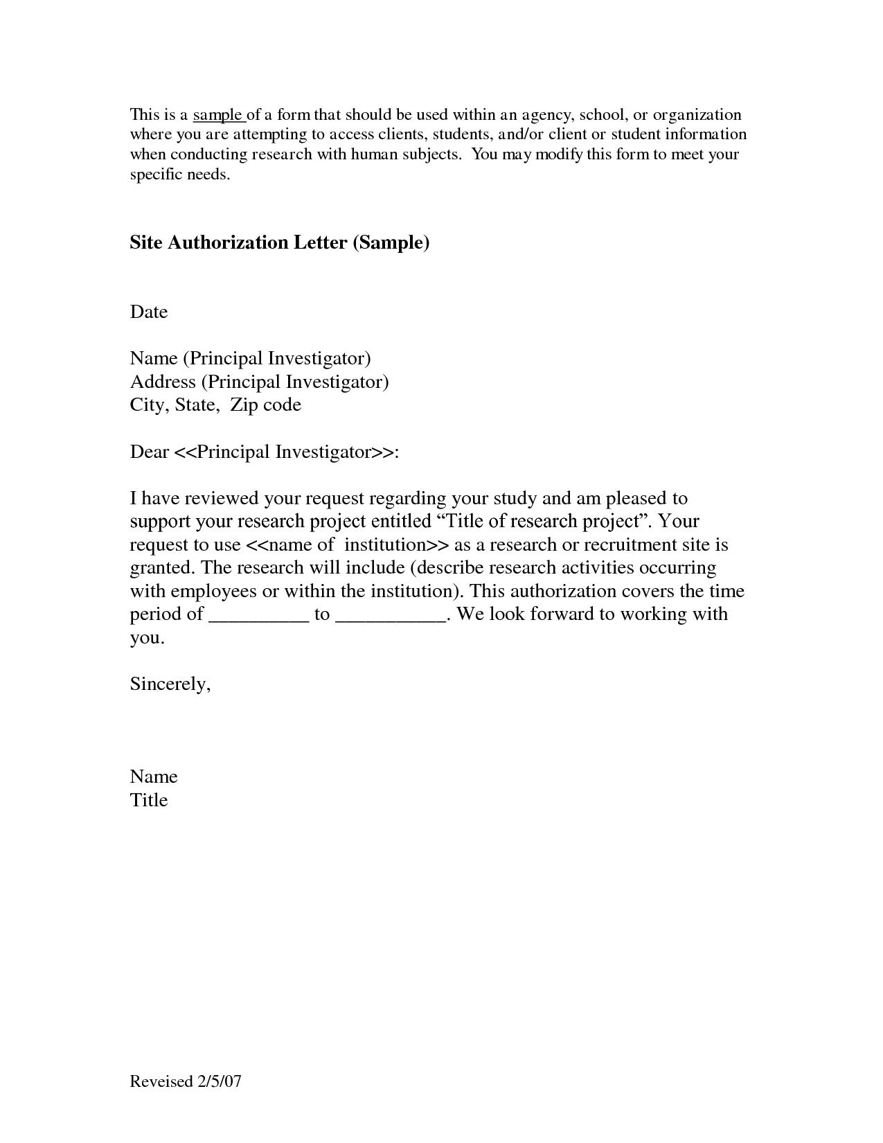 Parental Consent Permission Letter Template - Tender Authorization Letter Authorization Letter to Purchase