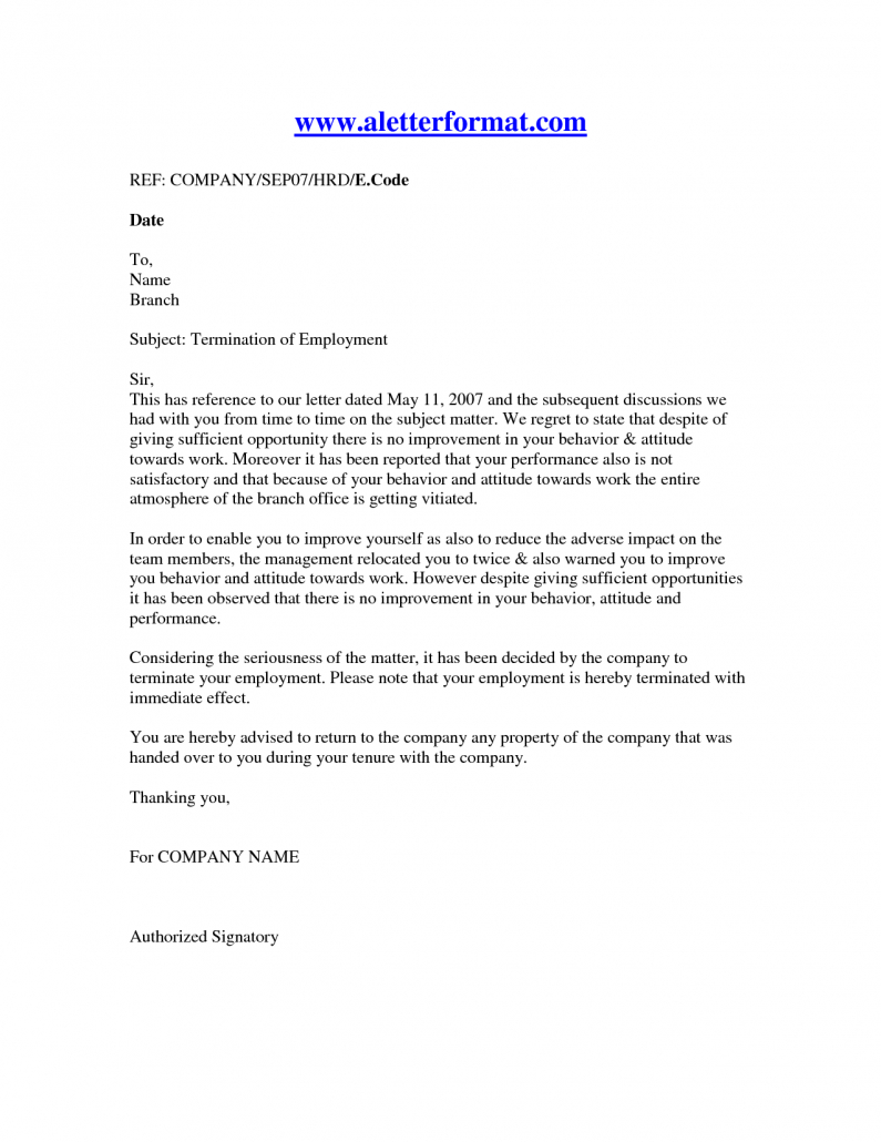 Termination Of Employment Letter Template - Termination Employment Letter Recruit Line Affordable