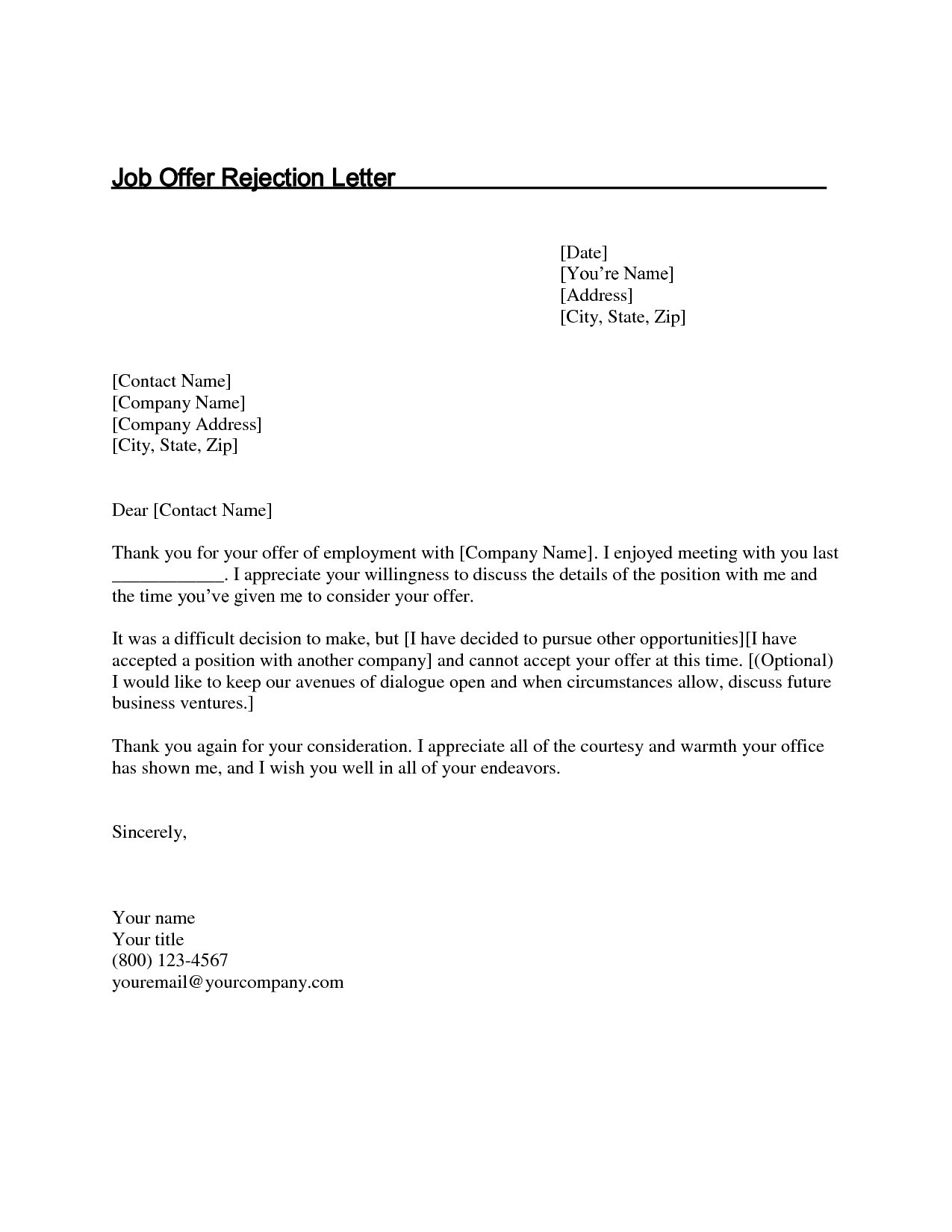 job offer rejection letter offer decline letter template samples letter 10881 | thank you letter after job fer decline luxury new rejection letter of job offer decline letter template
