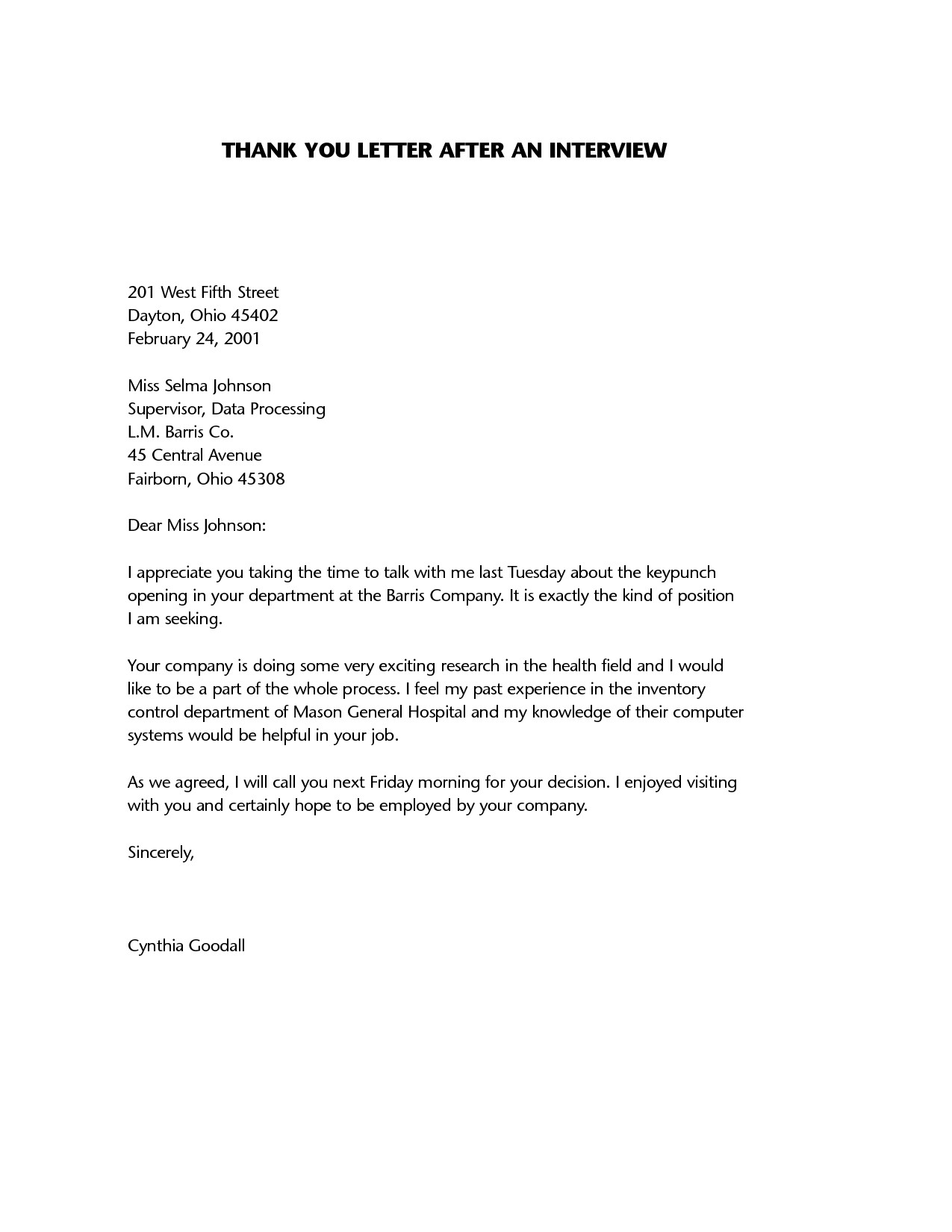 Interview Thank You Letter Template - Thank You Letter after Job Interview Sample New Interview Thank You