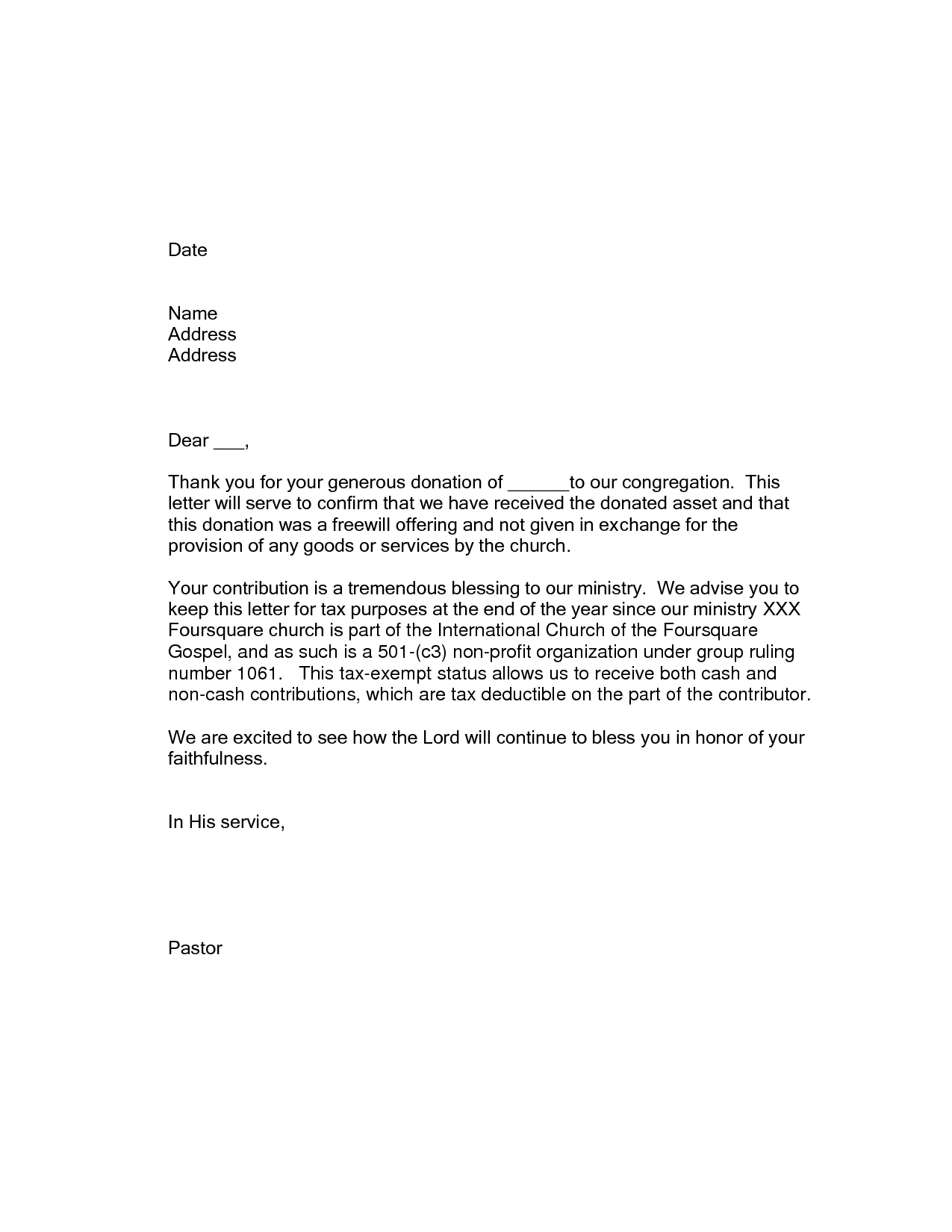 Church Donation Letter for Tax Purposes Template - Thank You Letter for Church Contribution Choice Image Letter