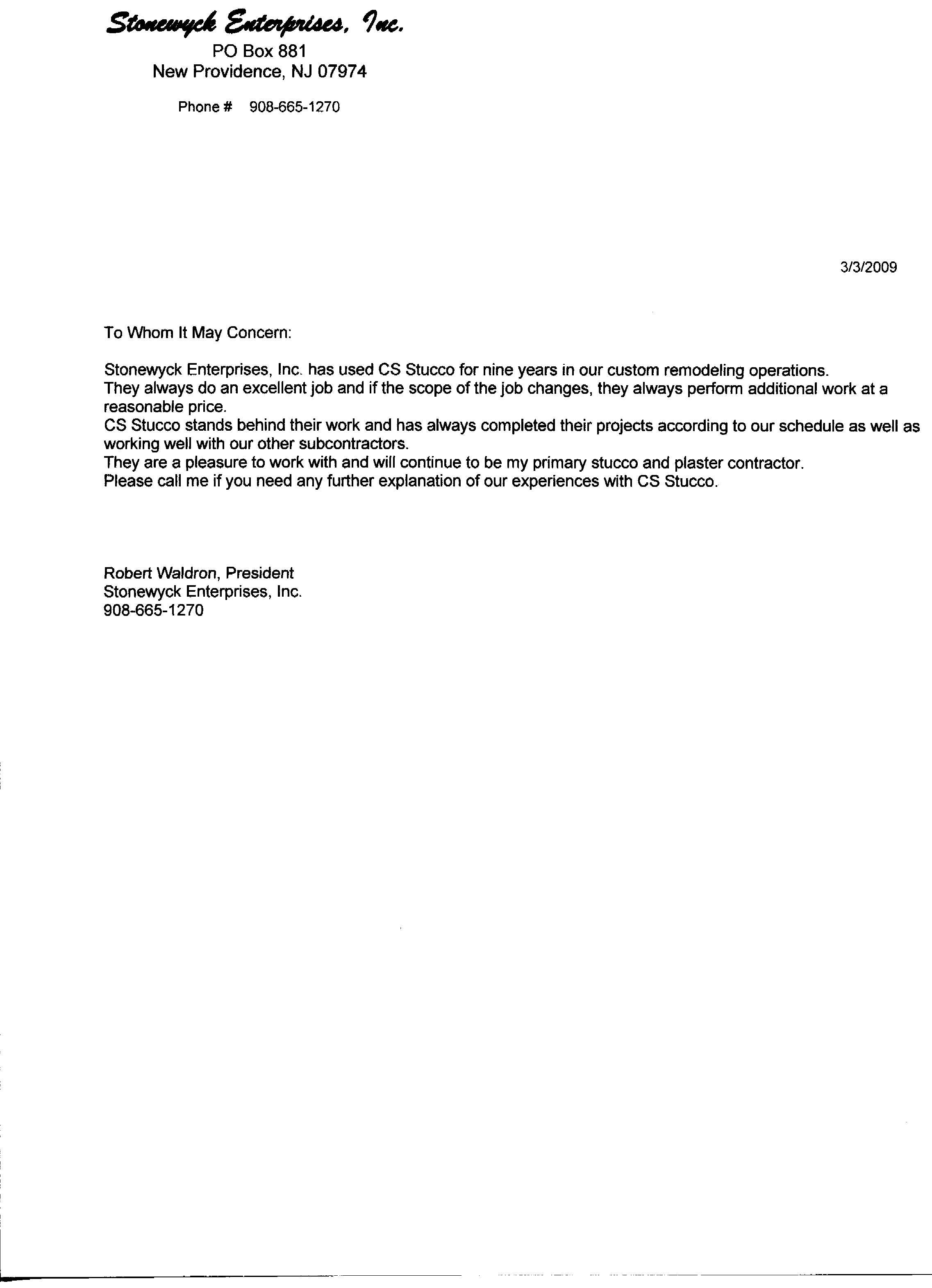 Subcontractor Warranty Letter Template Samples Letter