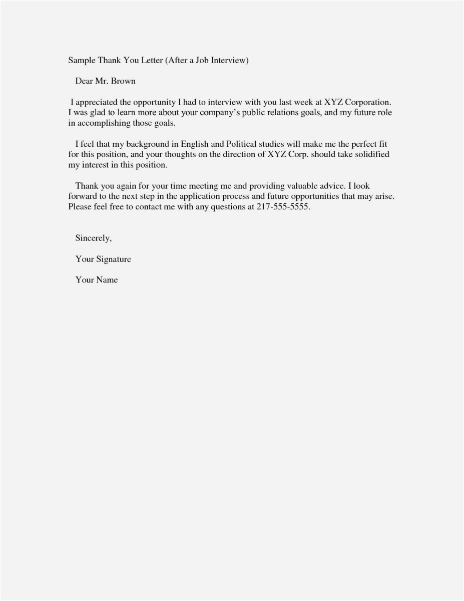 Interview Thank You Letter Template - Thank You Letters after Interviews Free Best Job Fer Letter Template
