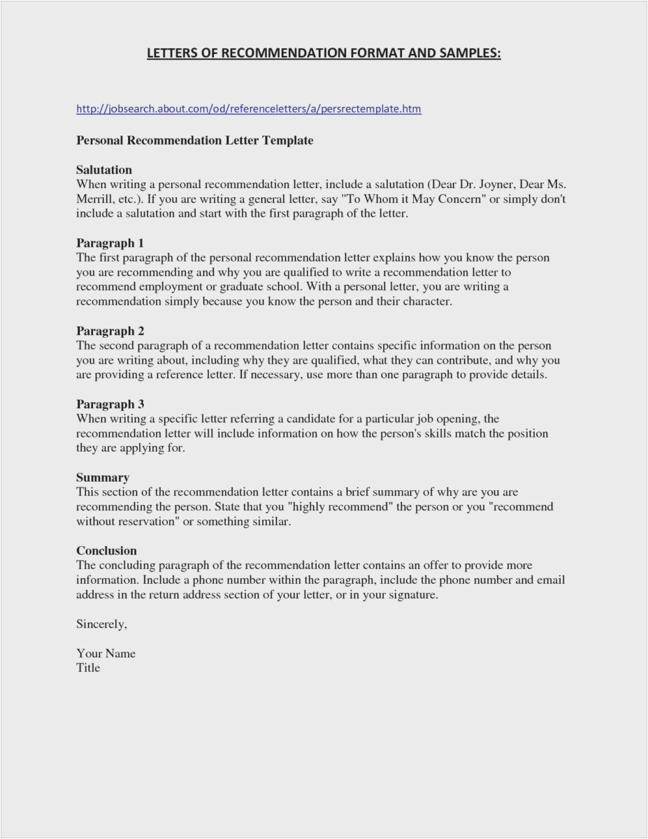 General Letter Of Recommendation Template Samples Letter Template