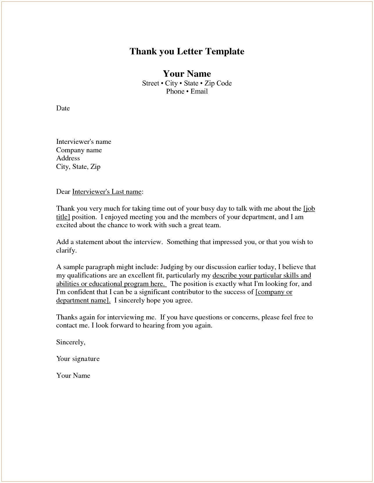 Interview Thank You Letter Template - Thank You Letters for Job Interviews Save Http Jobsearch About Od