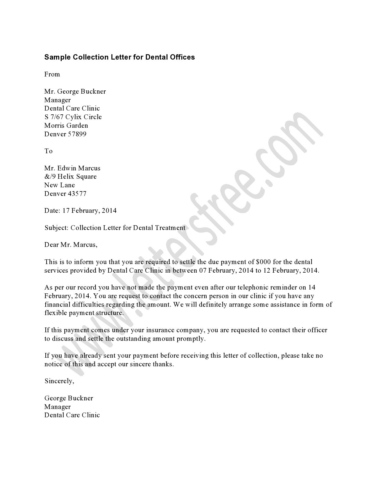 Dental Recall Letter Template - the Dental Collection Letter Should Be Used as A First Late Notice
