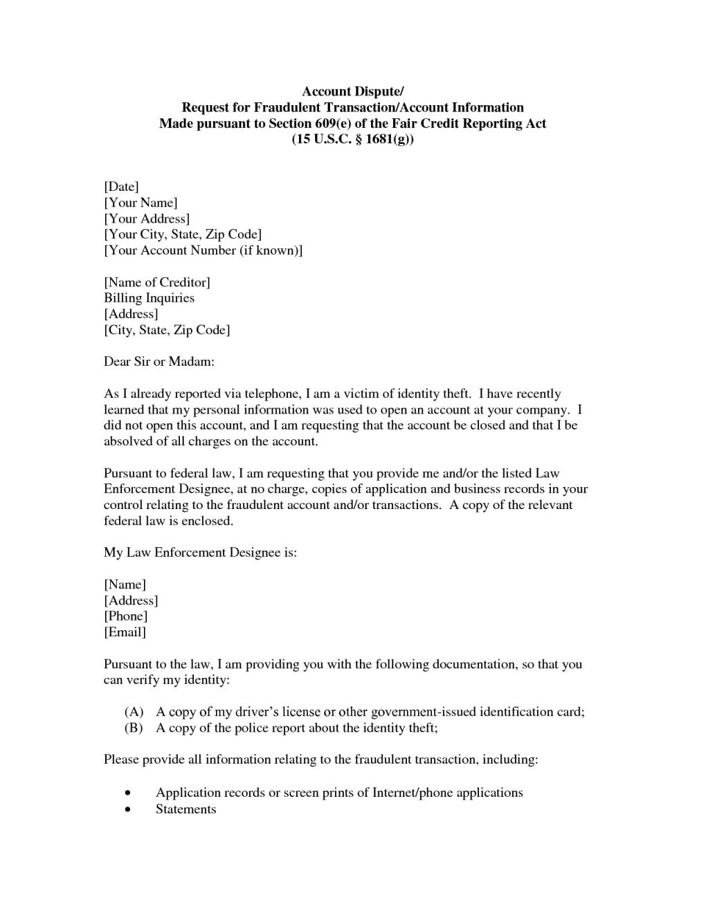 Section 609 Credit Dispute Letter Template - top Section 609 Credit Dispute Letter Sample Vl46 – Documentaries