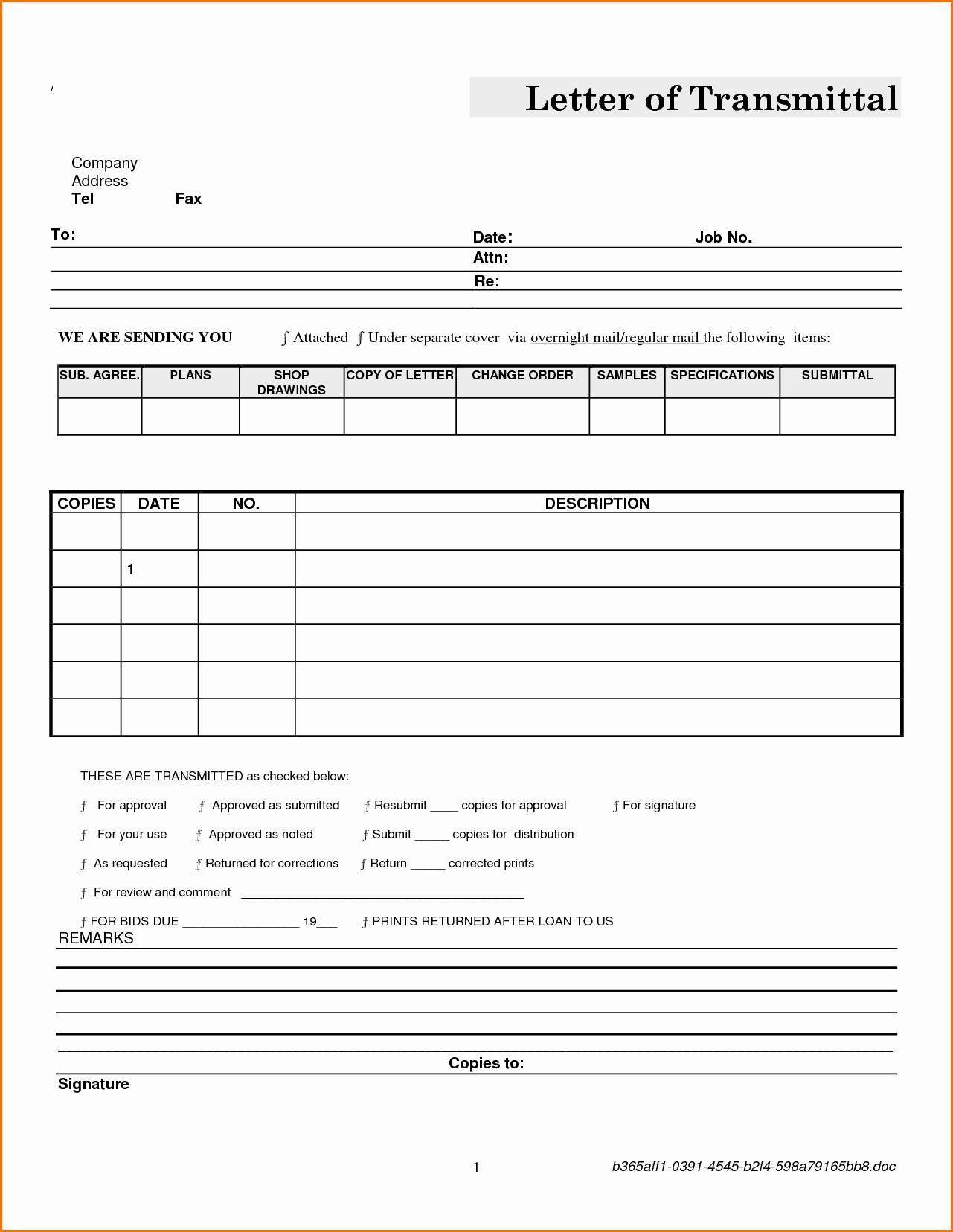 Letter Of Transmittal Template Construction - Transmittal form Sample Template New Construction Transmittal Letter