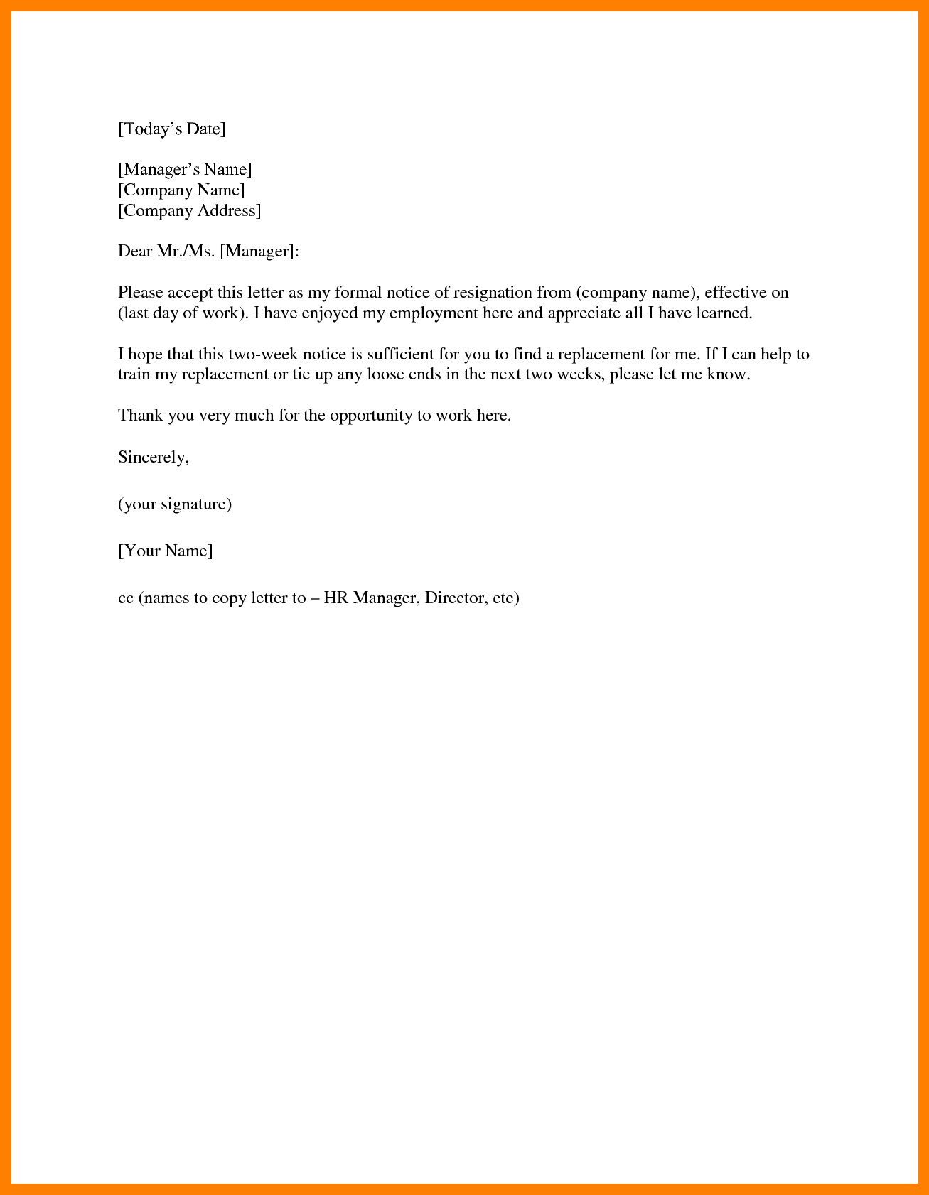 2 Week Notice Letter Template - Two Week Notice Email Acurnamedia