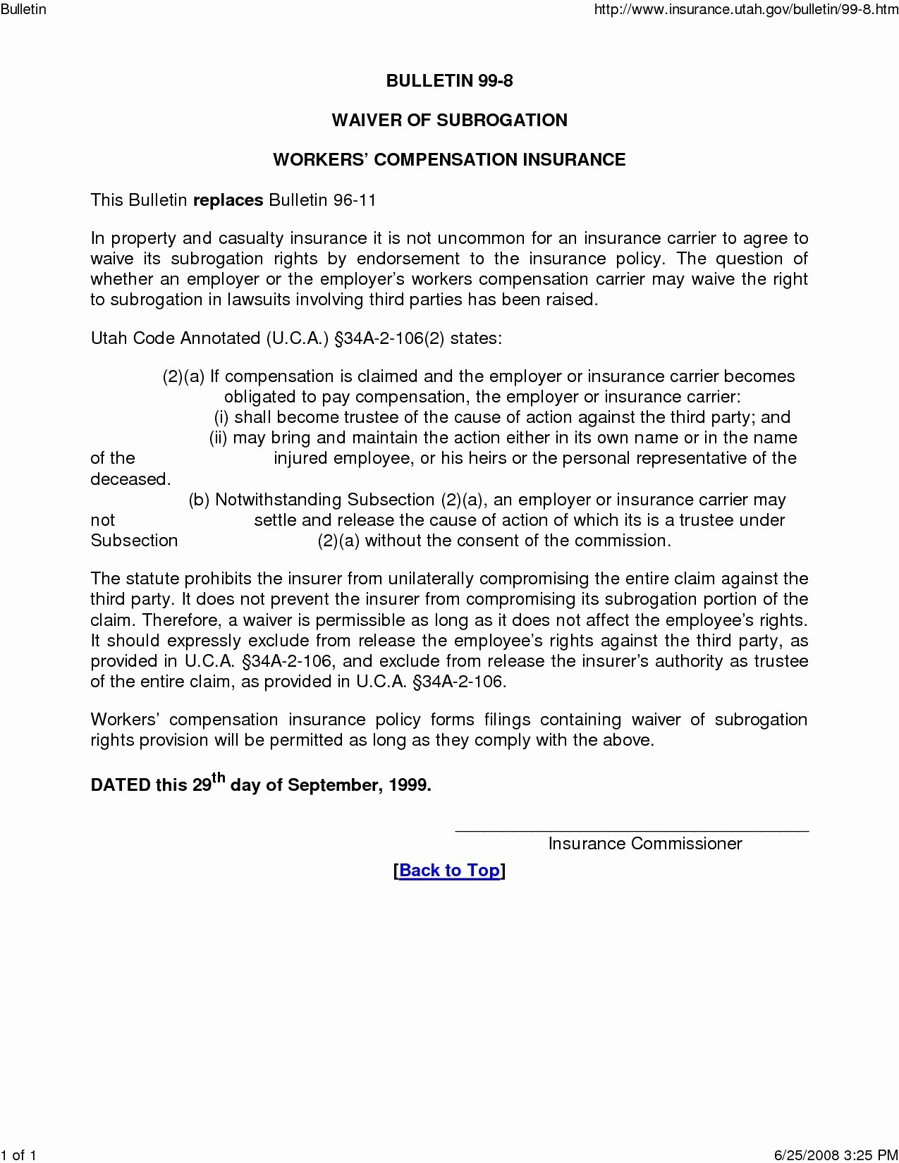 Subrogation Demand Letter Template - Valid Sample Certificate Insurance with Waiver Subrogation