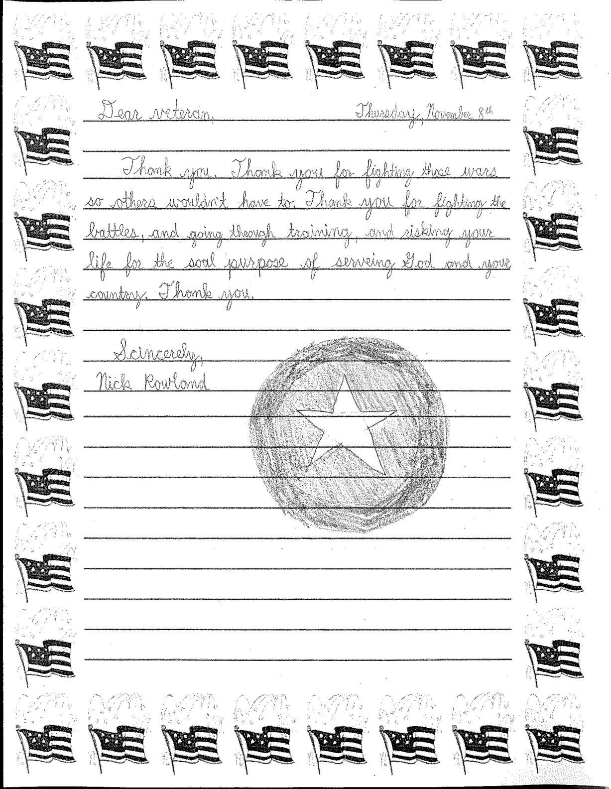 Veterans day letter template examples letter template for Veterans day thank you letter template