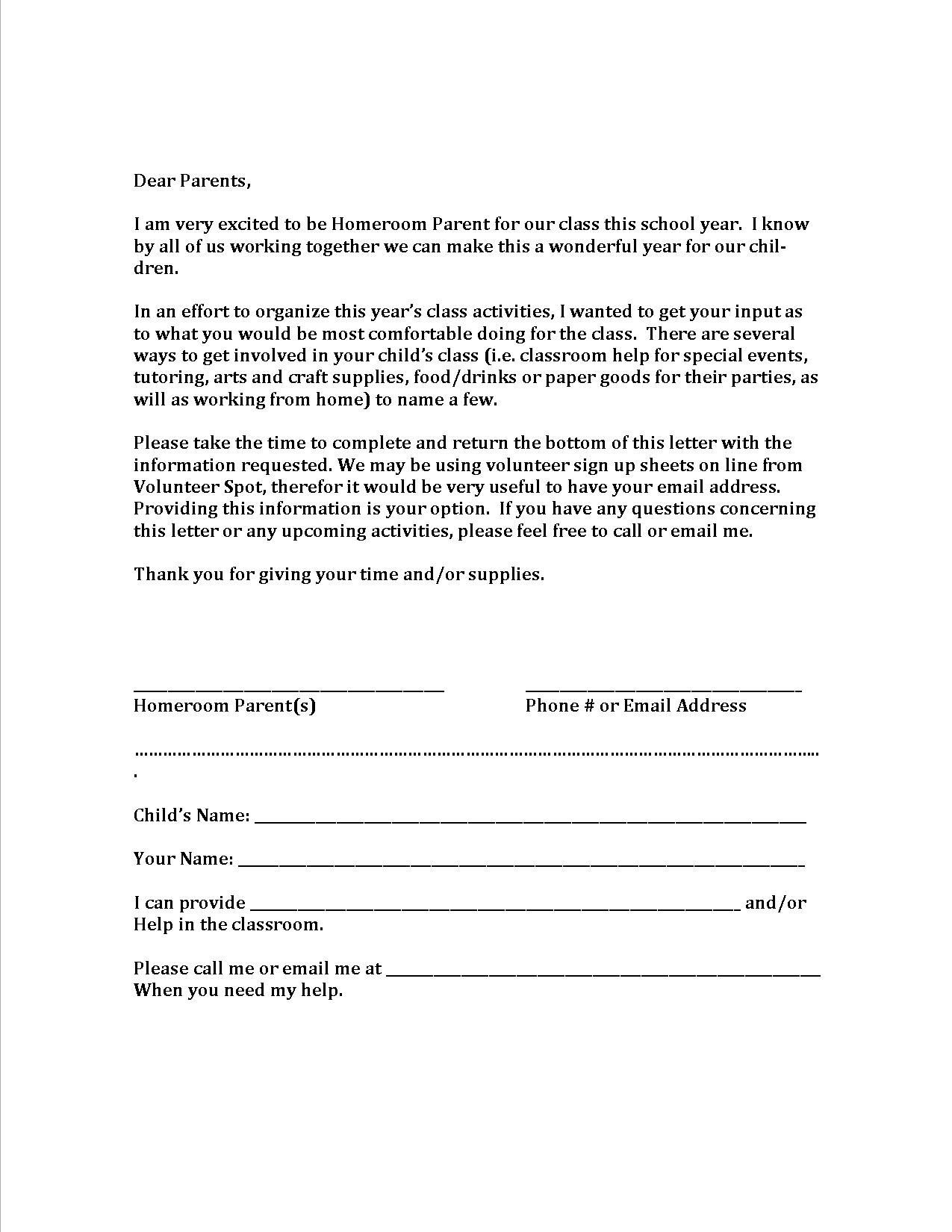 parent volunteer letter template examples
