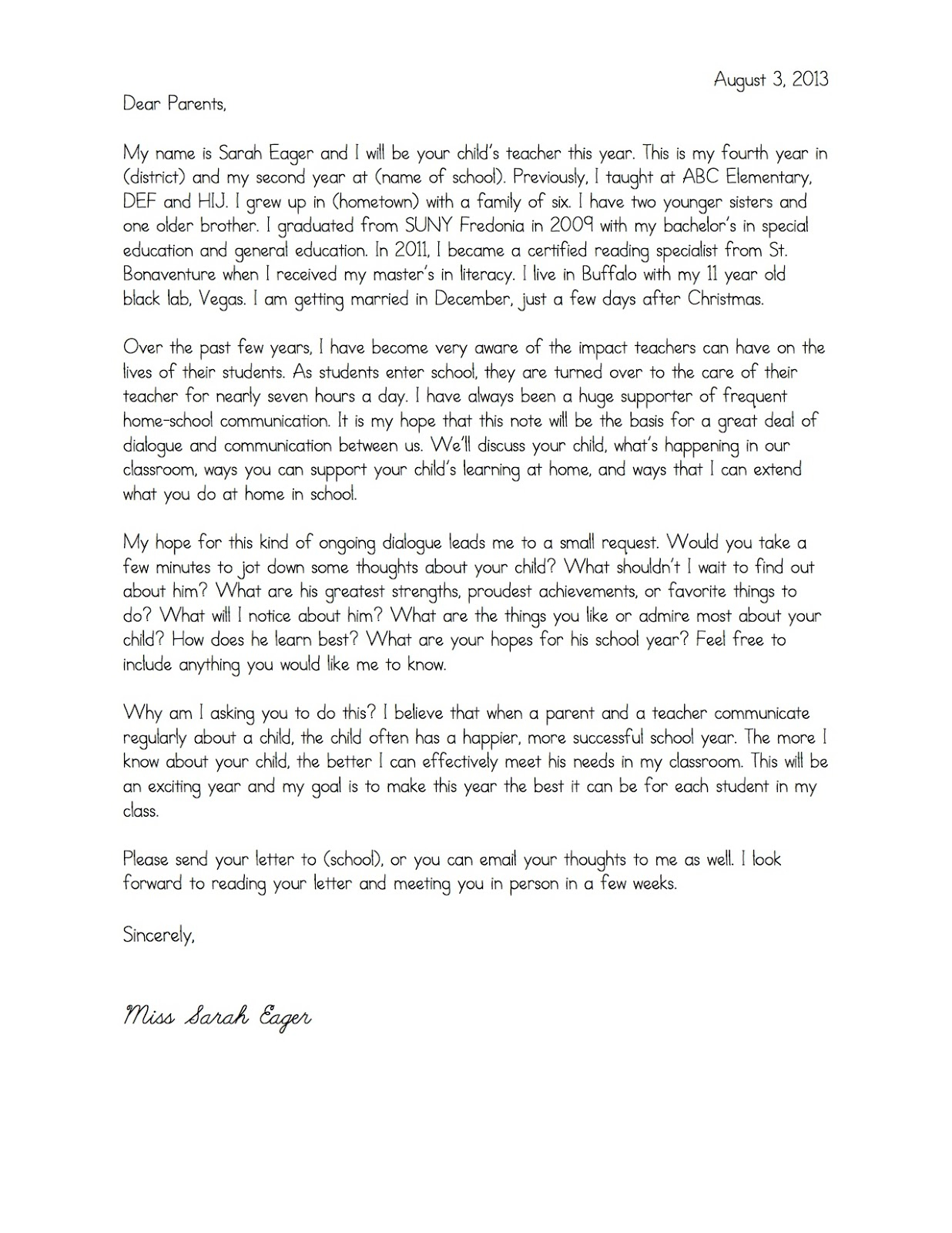 Teacher Welcome Letter to Parents Template - Wel E Parent Letters From Teachers Copy Email Email to Parents