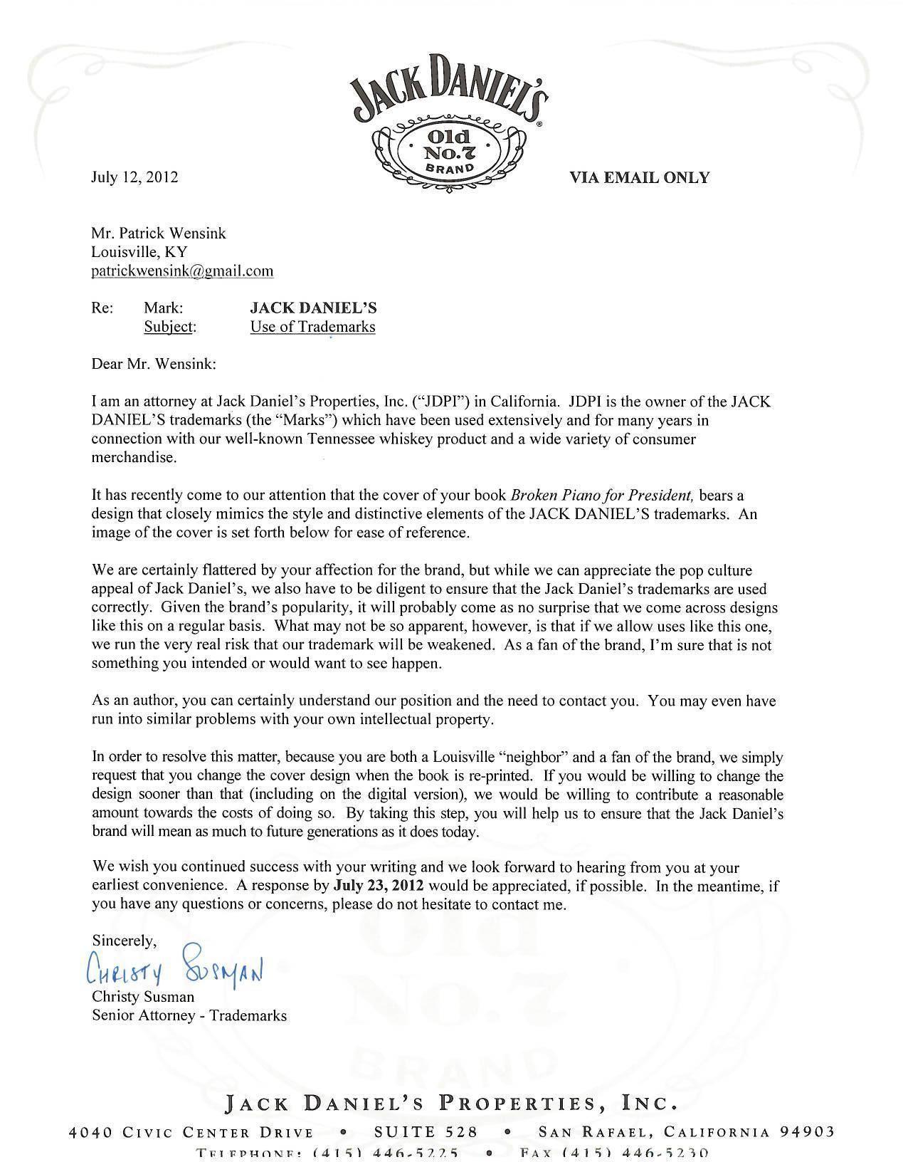 Trademark Cease and Desist Letter Template - What is A Cease and Desist Letter Inspirational Case Jacka Danielsa