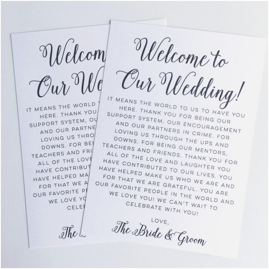 Wedding Welcome Bag Letter Template - Wonderful Destination Wedding Gift Bags