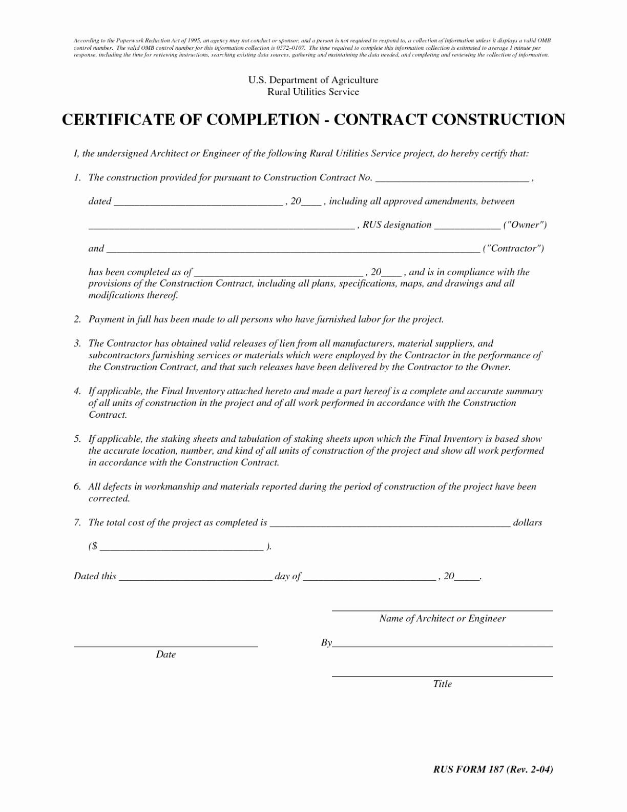 Letter Of Substantial Completion Template - Work Pletion Certificate Template Beautiful New Sample