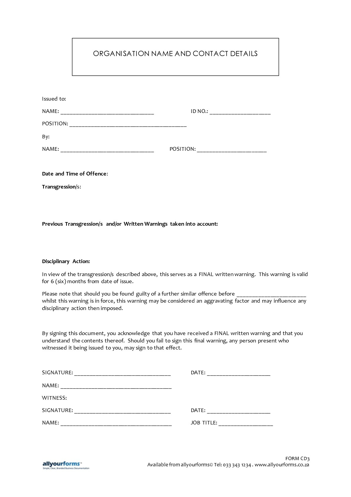 Disciplinary Letter Template - Written Warning Template Resume Template Sample